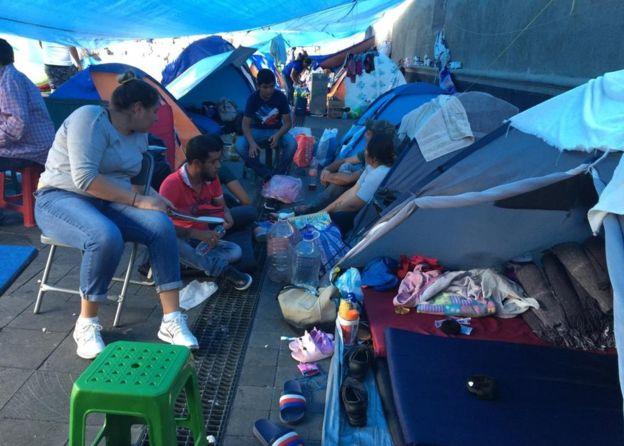 desplazados en el Zócalo